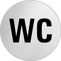 """OFFORM Señal pictograma en acero inox Ø 75mm No. 8480 """"WC Texto"""""""