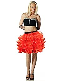 Crazy Chick 5 Layers Red Devil TuTu Skirt with Ribbon 18 Inches