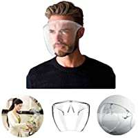 HHGGH Full Face Protector Shield Visor with Glasses Frame Safety Kitchen Cooking Anti-Oil Splash Clear Face Shield Mask Protector Kitchen Accessories Full Face Mask (M, 1PCS)
