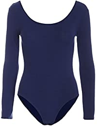 Be Jealous Womens Bodysuit Ladies Plain Long Sleeve Scoop Neck Jersey Party Leotard Top Plus Size UK 8-26