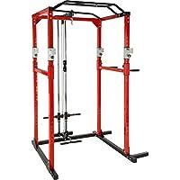 TecTake Multiestación de Fitness para Entrenamiento | 2 puntales de Seguridad macizos | Poleas para Barras de Flexiones Inferiores y Superiores Modelos (Rojo Negro Lat | No. 402738)