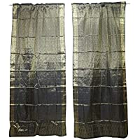 Mogul Interior 2 Indian Silk Sari Curtains Grey Organza Party Decoration Door Window Treatments 96X44