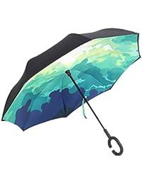 Paraguas invertido de doble capa independiente que se mantiene en pie por sí solo, paraguas de plegado invertido con mango en forma de C para mantener las manos libres, mejor para viajar y uso en coche, NO-11