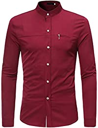 BUSIM Men's Long Sleeve Shirt Shirt Slim Zipper Decoration Summer Casual Solid Color Slim Fashion T-Shirt Button...