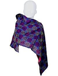 Indiweaves Women's Handmade Hand Quilted Silk Special Handwork Kantha Work Reversible Stole Scarve Dupatta_Assorted... - B0773S5PW9
