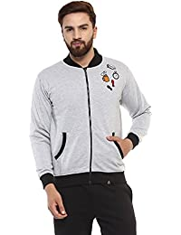 Griffel Men's Ban Collar Fleece Zipper Sweatshirt with front embroidery patchesB
