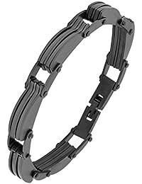 6fd89e85c4e9 Le Concepteur Jewelbox motard solide Plaqué Noir Bracelet en acier  inoxydable chirurgical 316L pour garçon Homme