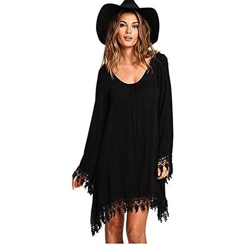JXLOULAN Womens larghi e comodi un grande pizzo Horn manica Dress Black Beach