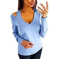 LILICAT✈ Color Liso con Hombros Descubiertos Mujeres Cuello de Pico Casual Hombro Ajustado Ajuste sólido Hueco Camisetas Casuales