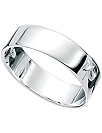Ladies Mens flat Band Sterling Silver Wedding Ring