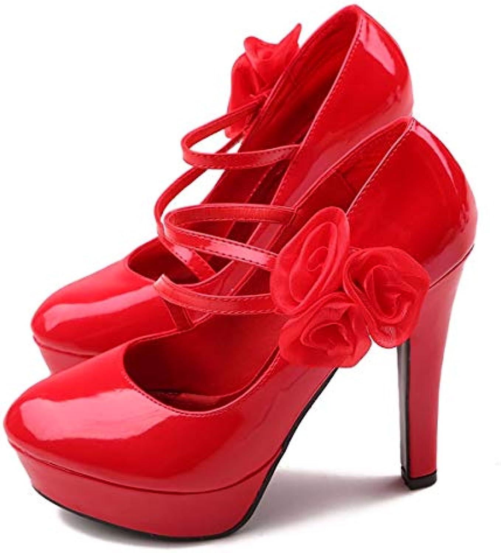 GTVERNH Scarpe da Donna High Heeled Scarpe da Donna rosso Wedding Scarpe Scarpe da Sposa Solo Scarpe Uno Spessore... | Tatto Comodo  | Uomo/Donna Scarpa