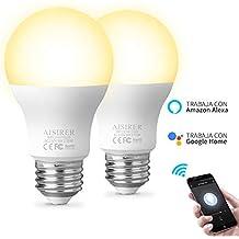 Bombilla inteligente Bombillas LED WiFi Compatible con Amazon Alexa Echo Google home y IFTTT E27 9W Equivalente 60W No se requiere hub Luz Blanca Cálida regulable 2700K 806LM AISIRER (paquete de 2)