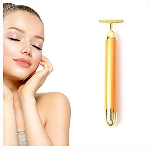Oro de 24K Energía Vibración de barra de belleza facial Reafirmante rodillo masajeador Herramienta de Anti-Edad