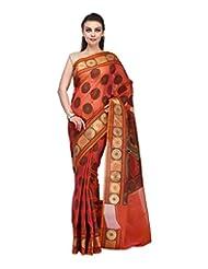 BUNKAR Women's Cotton Saree With Blouse Piece(Pink And Gold)