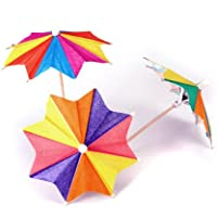 Approx. 145Pcs of Eight-Square Paper Cocktail Drink Sticks Parasol Umbrella Picks