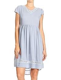 22842494f9a1 Anna-Kaci Womens Short Sleeve Backless Empire Waist V Neck Midi Blue Tunic  Dress
