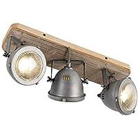 3 x 50 Wa QAZQA Industrie//Industrial Deckenstrahler dunkelgrau Suplux 3-flammig Spotbalken//Innenbeleuchtung//Wohnzimmerlampe//Schlafzimmer//K/üche Stahl Rund//Rechteckig LED geeignet GU10 Max