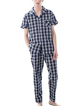 Ruishi Pijama de 2 Piezas de Hombre Conjunto de Ropa Dormir Sleepwear Manga Larga/Corta Patrón Cuadros - Talla...