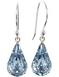 pewterhooter 925 Sterling Silver drop earrings expertly made with teardrop Aquamarine Blue crystal from SWAROVSKI®. London Box