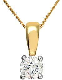Naava Women's 18 ct Yellow Gold IJ/I Certified Round Brilliant 0.33 ct Diamond Solitaire Pendant on Chain