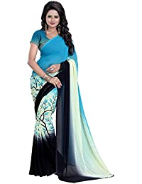 Heena Creation Women's Georgette Saree With Blouse Piece(1SR321DS1_Blue_Free Size)