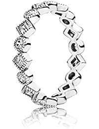 4d16c3515 Pandora Circles and Squares 190943CZ Women's Ring, Sterling Silver with  White Zirkonia
