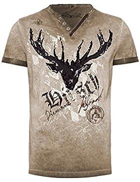 Hangowear Moser Trachten Trachtenshirt Taupe mit Hirschmotiv Avon 003796, Material Baumwolle, V-Kragen