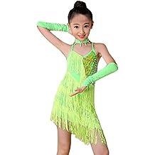 Ropa de Baile para Niñas Latino Vestido con Flecos de Fiesta Dancewear de  Cosplay Princesa f2cc8a220cd