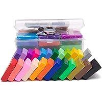 مجموعة صلصال من البوليمر اللدائني يمكنك تشكيله بنفسك، يجف بتعريضه للهواء، مجموعة من 24 لون و5 ادوات، للأطفال