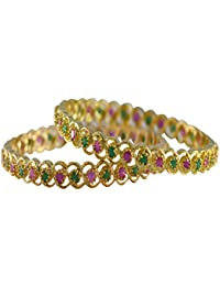 Red And Green CZ Stone Gold Plated Bangle Set For Women Size 2.4