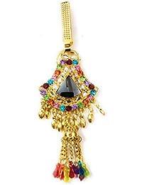 Gold Plating CZ Diamond And Maroon And Green Stone Challa/Chabi Challa Waist Key Chain For Women Girls
