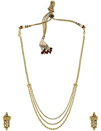 Anuradha Art Golden Finish Designer Classy Traditional Look With Necklace Set For Women/Girls