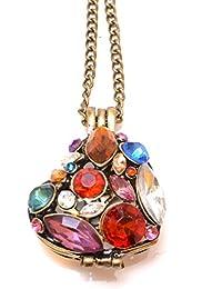 Varios colores Gem Studded Cutout 3d diseño colgante collar en bronce antiguo (bolsa regalo de