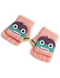 Pormow Herbst und Winter Warme Schüler Schreiben Handschuhe Baby Handschuhe Kind Gestrickte Fäustlinge,3-6 Jahre alt