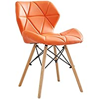 YY_C1 Silla PU + Wood + Metal 50CM * 38CM * 73CM (Color : Orange)