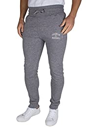 Franklin & Marshall Hombre Flaco Fit Logo Marled Joggers, Gris