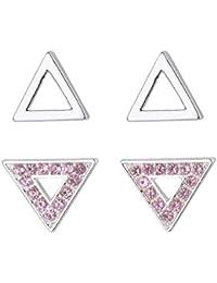 12 Paar Mode Frauen Platz Herz Dreieck-Strass Perle Ohrringe Set Ohrstecker S 1I