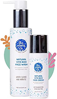 The Moms Co. Natural Vita Rich Face Wash and Face Cream for Daily Cleaning and Brightening with Vitamins C, B3