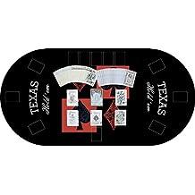 "Tapete Poker Antideslizante Oval ""Texas hold´em"" negro PVC 120 cm x 60 cm | Tapete poker mesa PVC | Tapete vinilico para mesas | Poker ""Texas hold´em"" negro"