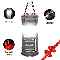‏‪Rechargeable Lantern Flashlight, COSOOS Portable LED Camping Lamp with Built-in 2000mAh Li-ion Battery, 4 light Mode, Red Light, for Camp, Tent, Hurricane, Outages, Support AA Battey(Not Included)‬‏