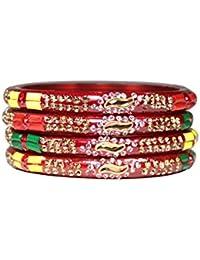 Manihaar Designer Fancy White And Golden Stones Golden Kundan Multicolour Plastic Beads Clinged Beautiful Set...