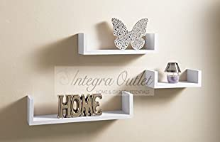Set Of 3 Different Sizes U Shaped Wooden Floating Shelf Available in black,White (White)
