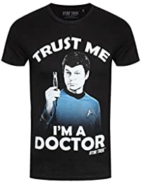 Star Trek Men T-Shirt Scotty Trust Me I'm A Doctor Black Cotton