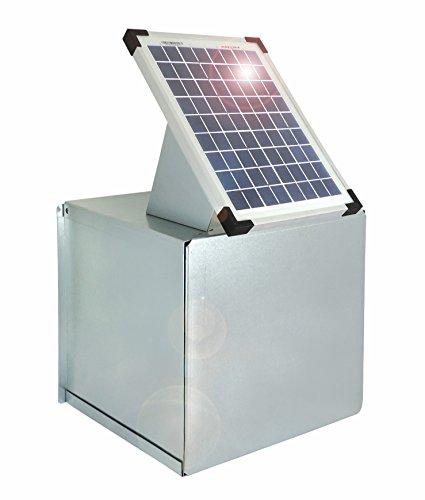 *Weidezaun Metall-Tragekasten inkl. 10 Watt Solarpanel für 12V- Weidezaungeräte – Verzinkt – Schützt vor Witterung und schränkt die Sichtbarkeit ein*