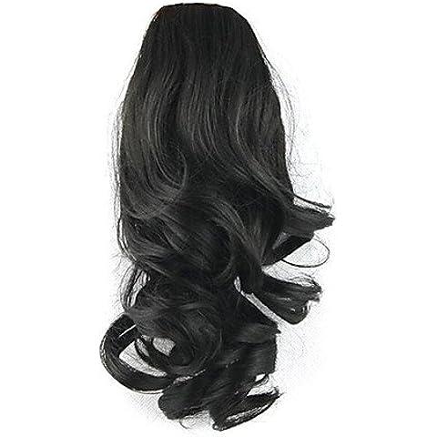 SONGYUNYANlunghezza 36 centimetri parrucca nera riccia sintetico ad alta temperatura del filo di legatura tipo (36 Parrucca Nera Lunga)