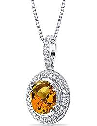 Revoni geschaffen, Padparadscha Saphir Halo Anhänger Halskette Sterling Silber 3,50Karat