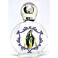 GTBITALY Virgen maría milagrosa Botella botellita de Vidrio con tapón de Plata para Agua Santa con