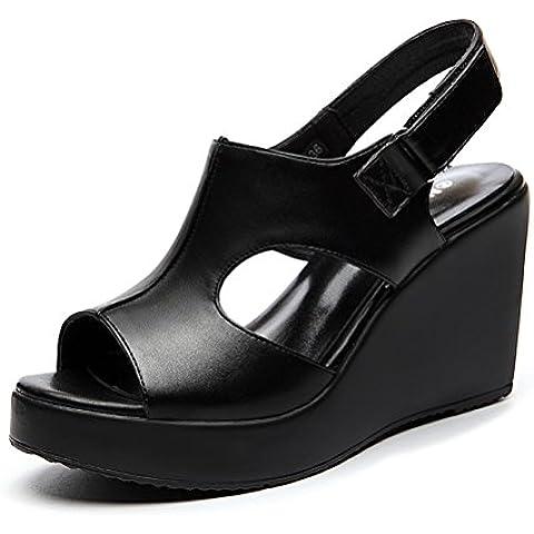 Los altos talones de las mujeres Meseta levantar grosor de la suela de la correa del ligamento cruzado sandalias de punta abierta rápida de moda de verano