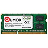 QUMOX 8 Go 204 pin DDR3L-1600 SO-DIMM Mémoire (1600Mhz, PC3L-12800S, CL11, 1.35V, Basse Tension)
