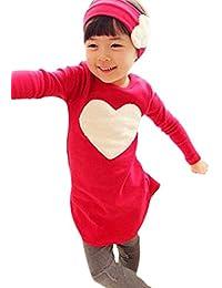 Etosell Enfant Fille 3Pcs Ensemble T-shirt + Bandeau + Leggings à manches longues 2-7 ans
